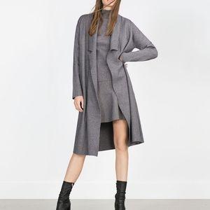 Zara Long Coat with Draped Neck
